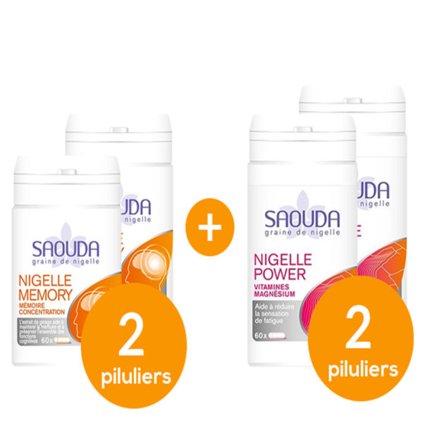 Pack Nigelle memory - energy x 4 piluliers mix