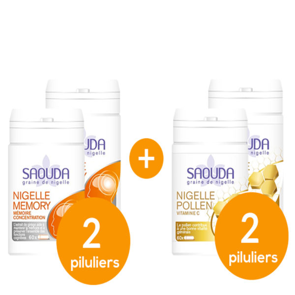 Pack Nigelle memory - pollen x 4 piluliers mix